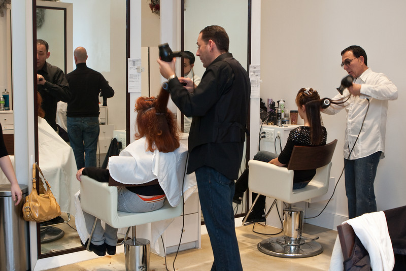 dueling blow dryers<br /> Bernard's Salon and Spa in Cherry Hill, New Jersey