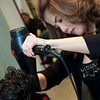 blow drying hair <br /> Bernard's Salon and Spa in Cherry Hill, New Jersey