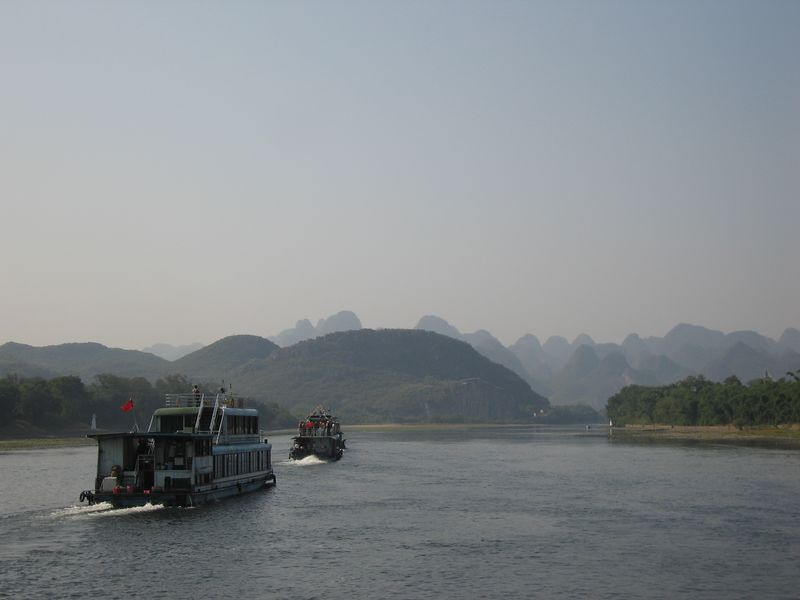 Steaming (ok, diesel driven propping) down the Li River
