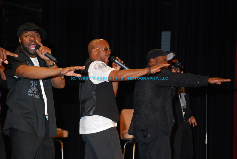 """""""Naturally 7"""" singing group, during their performance in Bridgeport, WV, sponsored by the Bridgeport Arts Council."""