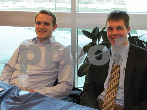 Attorneys Darren J. Robinson and Nicholas K. Cochrane at the Entrepreneur Expo at the Bio Science Building.
