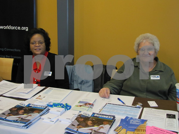 Dawnelle M. Conley and Linda L. Haus with the U.S. Small Business Administration.