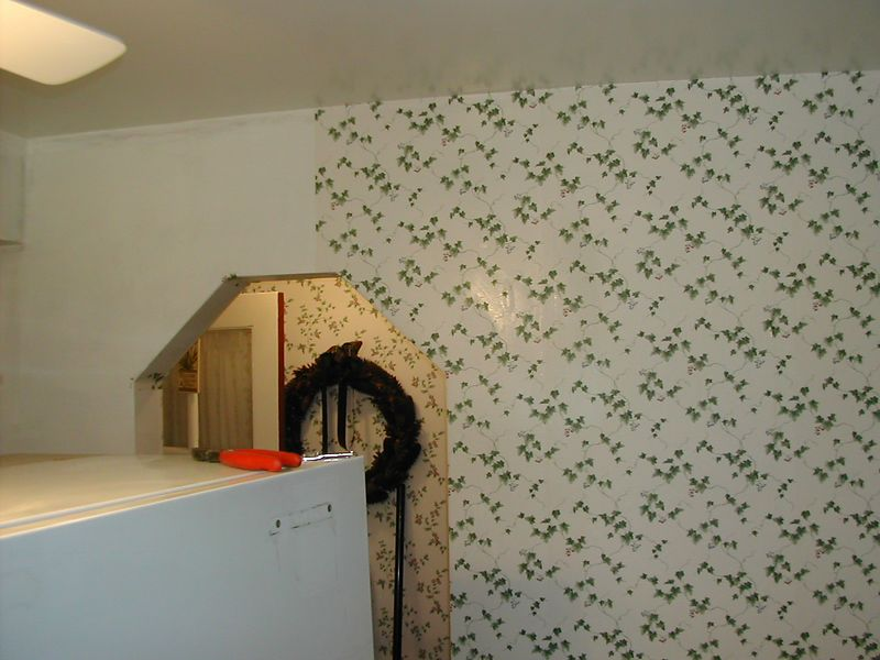Wallpapering kitchen