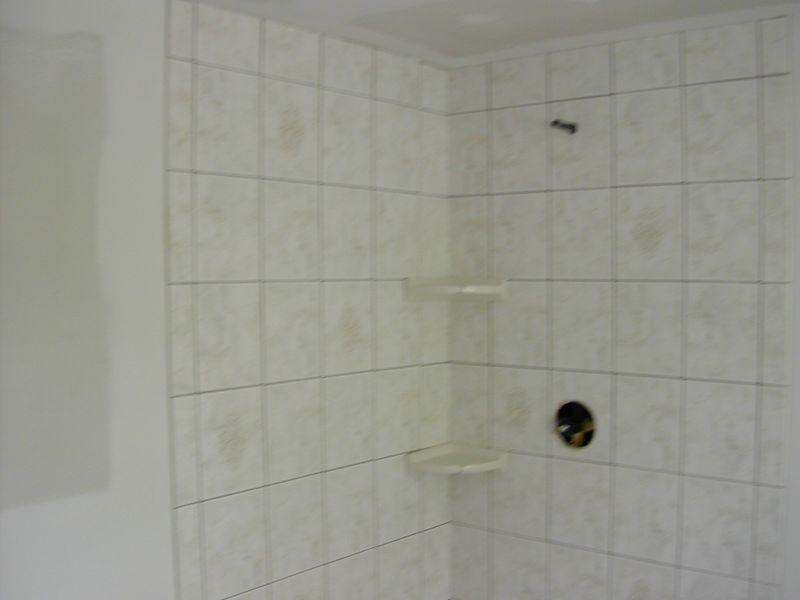 Tilework in bathroom