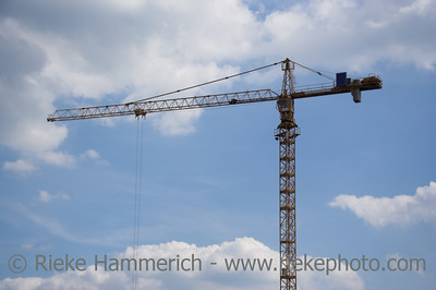 Erection Crane against a blue sky