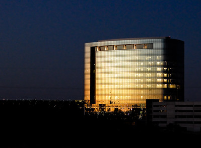The new Tesoro headquarters building on the north side of San Antonio at sunset.