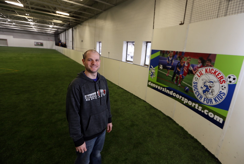 Danvers Indoor Sports expands into Wilmington with this recently purchased facility on Upton Drive. Court coordinator Elliot Bresnahan of Danvers, at the indoor turf field.(SUN/Julia Malakie)