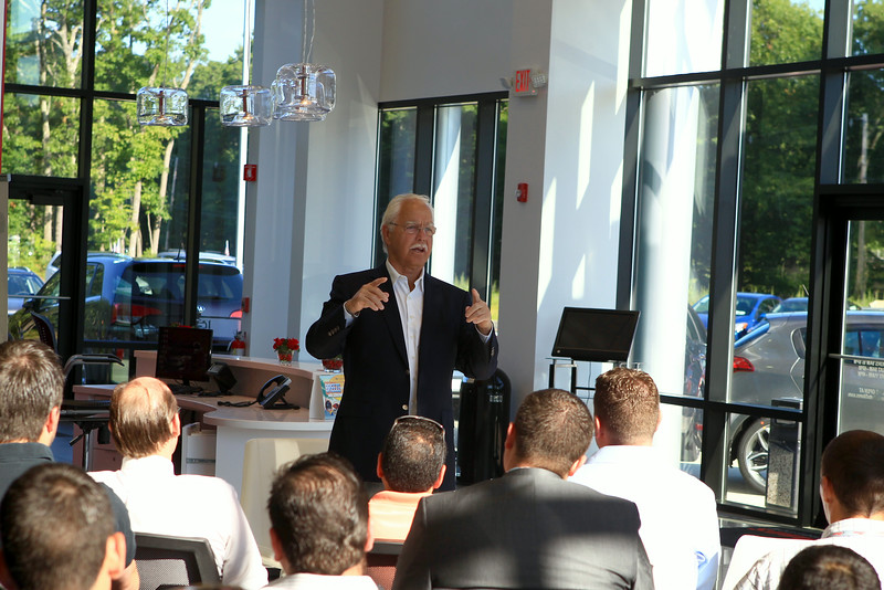 Derek Sanderson Sat morning at Ron Bouchard's Kia in Lancaster,MA, giving a motivational speech to the sales force.