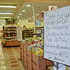 A sign at the Market Basket store on John Fitch Highway in Fitchburg, listing all the items that are out of stock. SENTINEL & ENTERPRISE / Ashley Green
