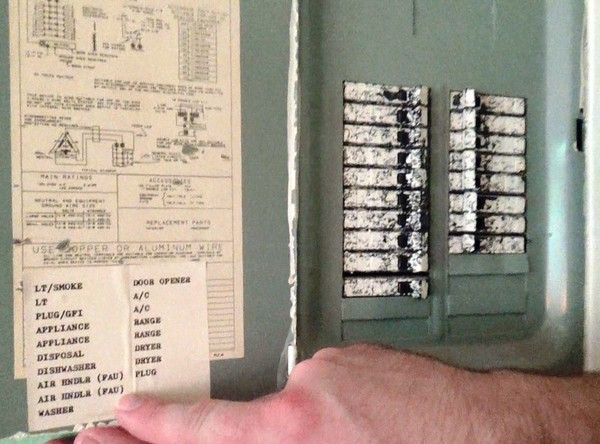 Turn off AC circuit breaker and Air Handler circuit breaker