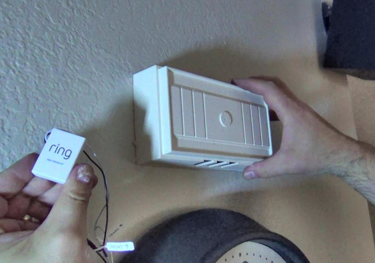 Install the  power kit inside the ring doorbell in the house