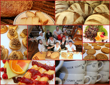 Door County Bakery employees surrounded by select offerings including breakfast & lunch menu choices & bakery delights.