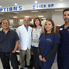Health Care Family Pharmacy, run by two of its three owners, Sam and wife Connie Hantzis of Lowell, is now open at Loon Hill Road and Rt 113 in Dracut. From left, delivery driver Ruben Arroco, owners Sam and Connie Hantzis, lead technician Tiffany Nanthavong, and pharmacy technician Orlando Rivera, all of Lowell. (Not present: staff pharmacist Lisa Gray.) (SUN/Julia Malakie)