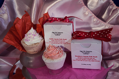 Vanilla Cupcake & Strawberry Cupcake Bath Bombs by Eggs-Otic Soapworks