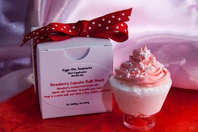 Strawberry Cupcake Bath Bomb by Eggs-Otic Soapworks