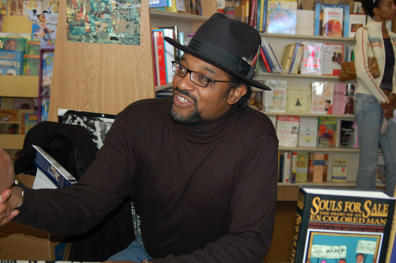 Author Anthony Samad, who wrote Souls for Sale signs books.  He recently hosted Senator Barack Obama in conjunction with Eso Won Books at the California Afro American Museum.
