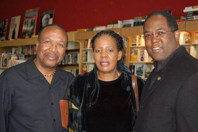 Dr. Kwaku Person-Lynn, Mathabo Kunene and Assemblyman Mark Ridley-Thomas.  Mathabo was visiting Los Angeles due to the services for her late husband the late Dr. Mazizi Kunene, South African Poet Laureate.