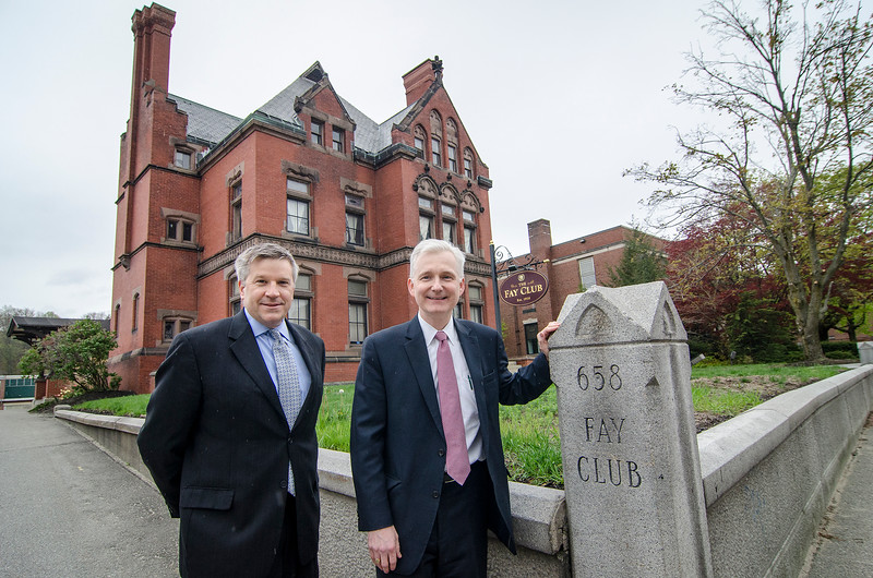 Vincent Pusateri and Steve Duvarney met at the historic Fay Club in downtown Fitchburg on Wednesday afternoon to discuss the re-opening of the club. SENTINEL & ENTERPRISE / Ashley Green