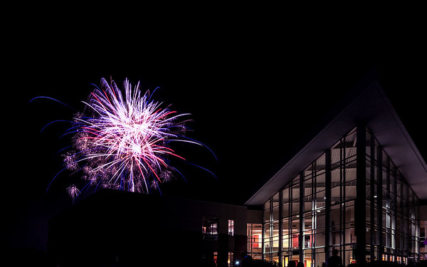 Church and fireworks-