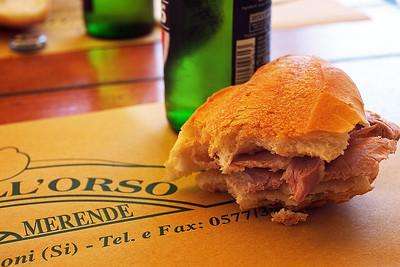 Porchetta Sandwich in Bar Dell'Orso, Monteriggioni