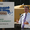 Executive Office of Housing and Community Development secretary Jay Ash speaks at the groundbreaking ceremony for the Four Corners MassWorks Infrastructure Project, at the intersection of Rt 119 and Rt 225 in Groton. (SUN/Julia Malakie)