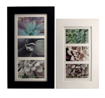 In Stock in Matt Black finish with seamless wood face- holds 3 5x7 Images Very high quality ready made frame comes with matting as shown.