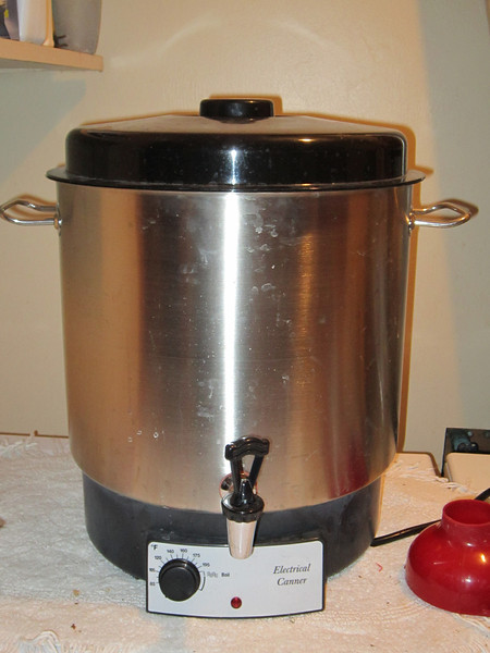 This is the new electdrical canner Joe uses to can the pickles he makes and sells at the Rochester Downtown Farmers Market. July 23, 2012.