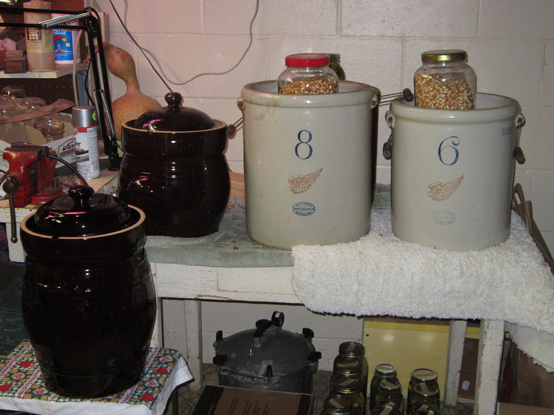 These are some of the crocks Joe uses to make Full Circle Farm's  fermented dill pickles. July 23, 2012.