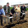 Ground was broke Tuesday morning for a new auto parts manufacturing facility in Anderson's Flagship Business Park by by Greenville Technology, Inc.<br /> Pictured turning earth are Anderson Mayor Kevin Smith; Tom Moore, GTI vice president; Hiroyasu Masuno, director North America Operations for Moriroku Technology North America; Indiana Governor Mitch Daniels; and William LaFramboise, GTI executive vice president.