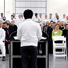 All eyes are on GTI president & CEO Sho Kurita as he addresses those attending GTI's ribbon cutting ceremony Friday.