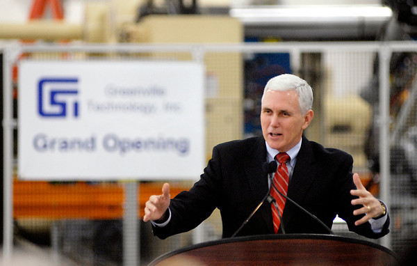 Newly inaugurated Governor Mike Pence speaks at the ribbon cutting ceremony for the GTI's new Anderson parts manufacturing facility.