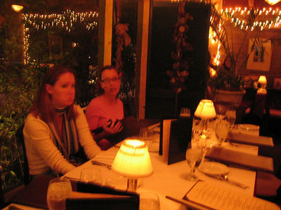 Jen and Cindy before the festivities got underway at our first-ever holiday party, Dec 20, 2005, at Creola's in San Carlos. Cindy works at BEA. Whoa. Jen is thinking about the men in her life.