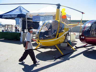 The yellow R22 next to our booth