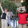 Great Wolf Resort in Fitchburg had its grand opening on Thursday morning. Doing a wolf call with Wiley the Wolf to official open the new Facility in Fitchburg is Great Wolf Resort CEO Kim Schaefer. SENTINEL & ENTERPRISE/JOHN LOVE