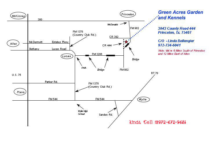 A map to help you and Fido find your way to Green Acres!!