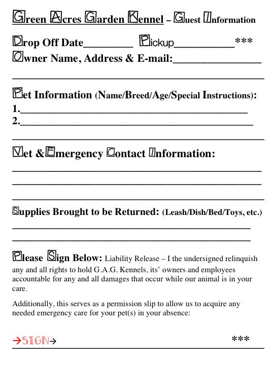 Print out and bring with you to save time and make sure you give me all the information I need to take care of your pet(s)!!