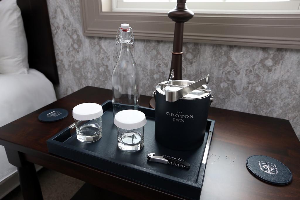 . Groton Inn reopens. Night table in a bedroom. (SUN/Julia Malakie)