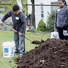 Jomar Santiago, 10, lends a helping hand during the grand opening of Growing Places new teaching garden at St. Joseph's Church in Fitchburg on Saturday afternoon. SENTINEL & ENTERPRISE / Ashley Green