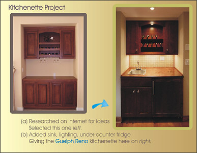 "Kitchenette project process. The customer wanted to replace a 48"" closet with a wine kitchenette. I searched the internet for ideas and sent him a dozen pictures showing a wide range possibilities. He liked the general feel of the left one but wanted a sink and fridge.... a trip to Home Depot to order some cabinets, a few modifications and voila! (Too bad I didn't have my flash with me to compensate for the high contrast.)"