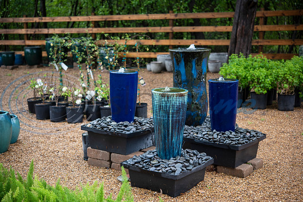 Fountains and other garden decorations are for sale at Hand Nurseries in Tyler on Friday, March 20, 2020.