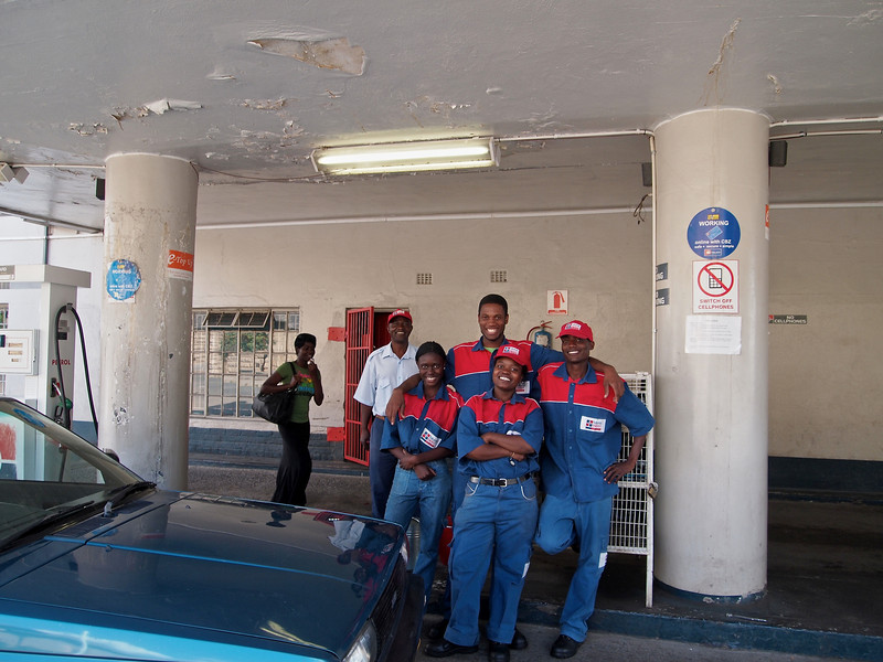 Workers at a service station on Sam Nujoma.