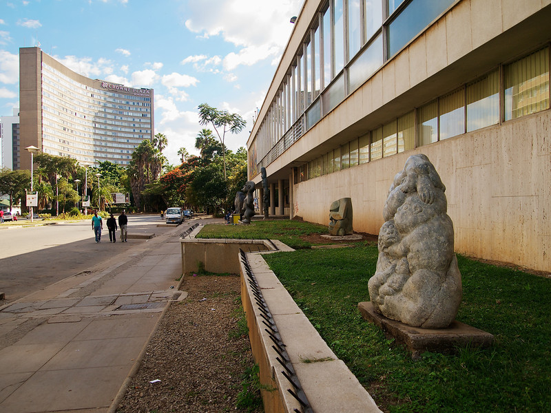 """The National Gallery of Zimbabwe, with the Crowne Plaza (aka Hotel Zimbabwe"""") in the distance."""