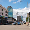 Sam Nujoma Street, named after Namibia's first President, with views of the whacky ICL building and Zimbabwe's reserve bank.