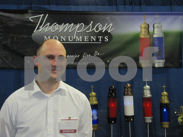 Nathan Ribbey of Thompson Monuments in his booth at the Messenger's Home & Garden Show