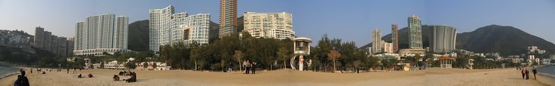 Panoramic view of the buildings on Repulse Bay