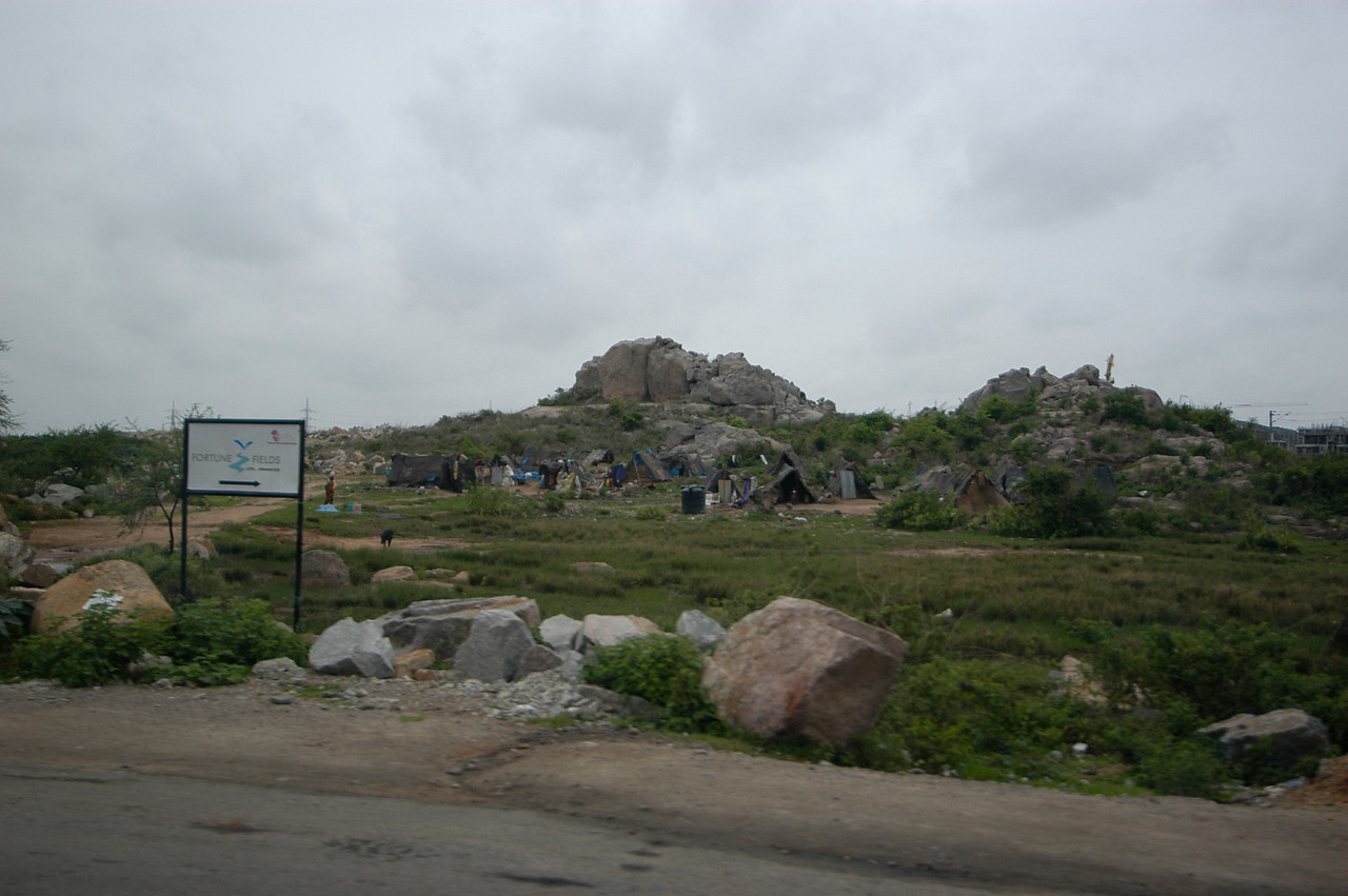 More terrain and a shanty town in Hyderabad