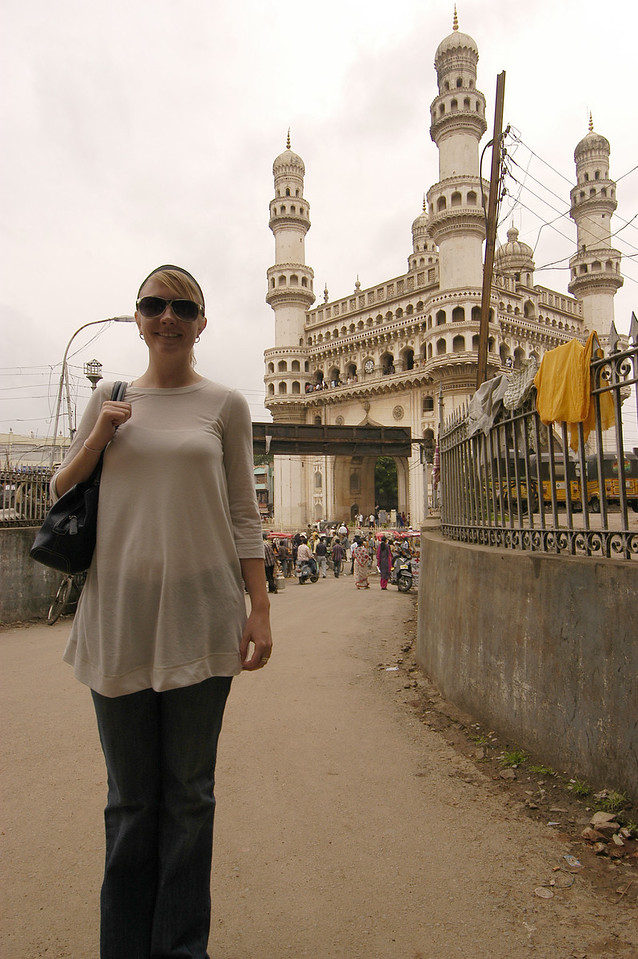 Detgen in front of 'Four Pillars' in Old Hyderabad.  We declined to go up because they were charging local 5 Rs. and foreigners 100 Rs.