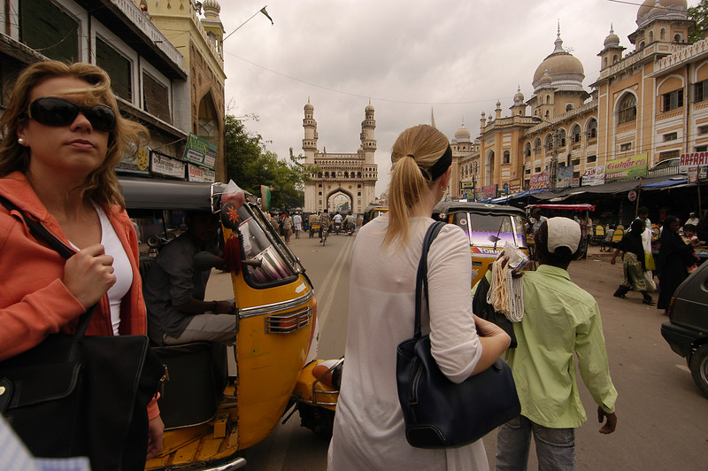 Us crossing the street in Old Hyderabad