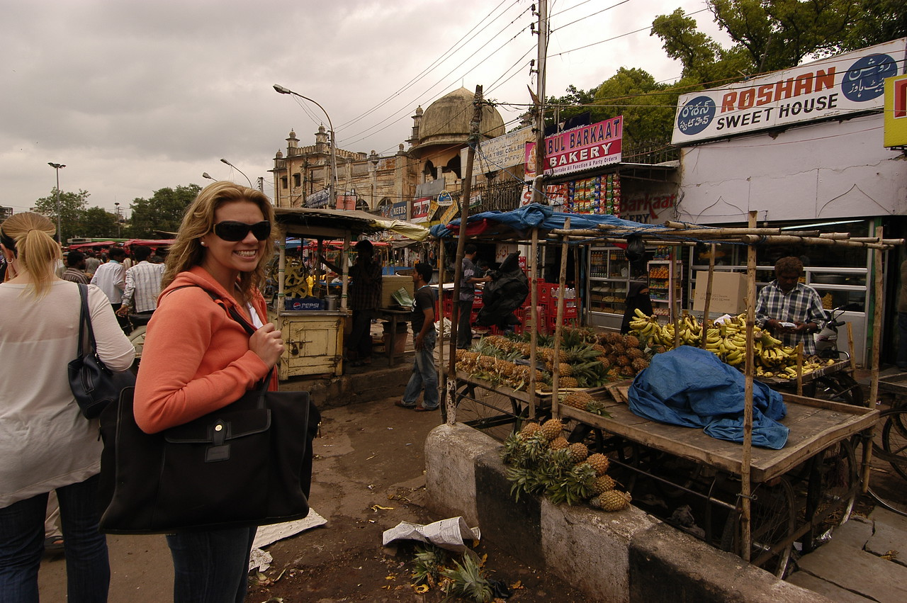 Alison in the roadside produce stands of the Four Corners Bazzar