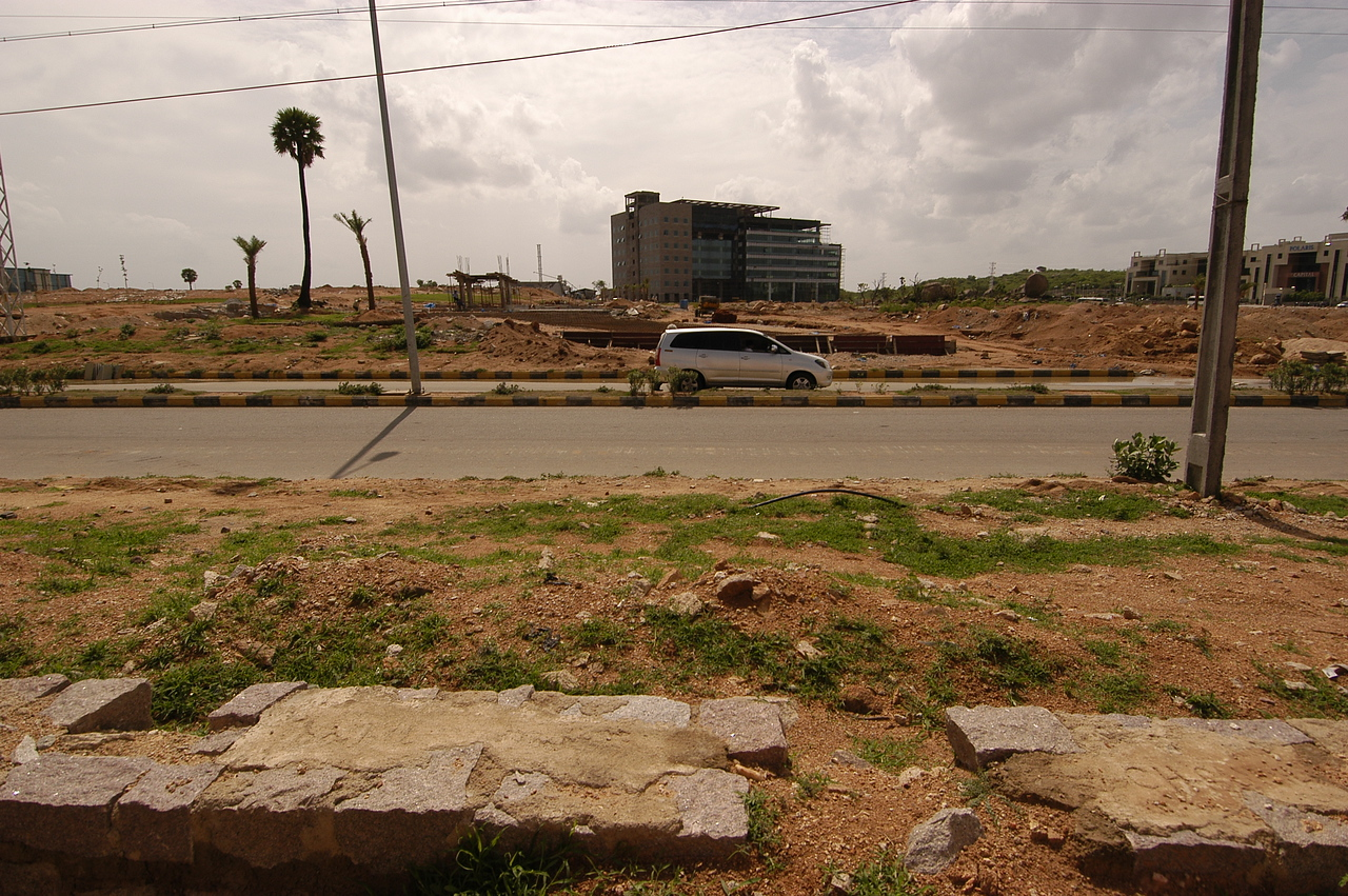 Looking across the street from Mantri's resi site in Hyderabad